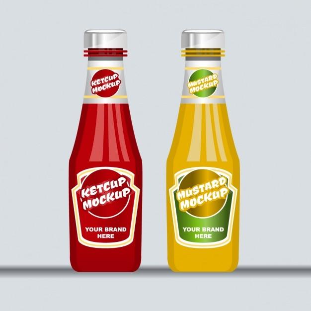 Ketchup and mustard Free Vector