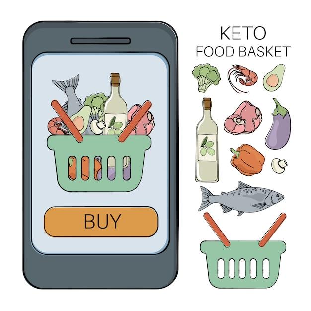 Keto basket healthy food low carb Premium Vector