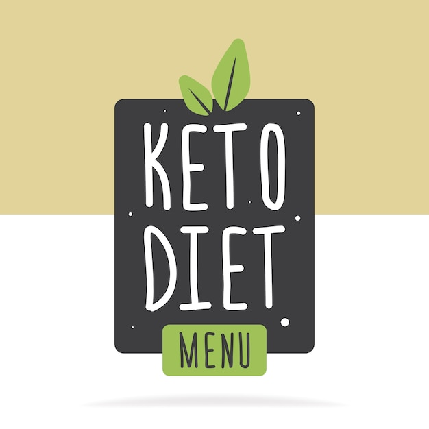 Keto diet menu label or poster. vector flat illustration. concept healthy eating. Premium Vector