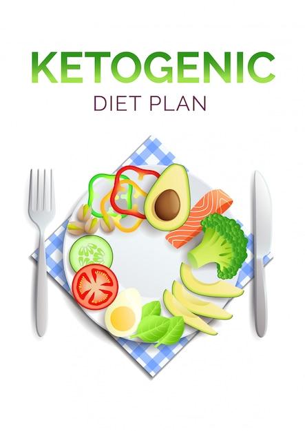 Кето диета, тарелка со здоровой пищей, авокадо, лосось и овощи Premium векторы