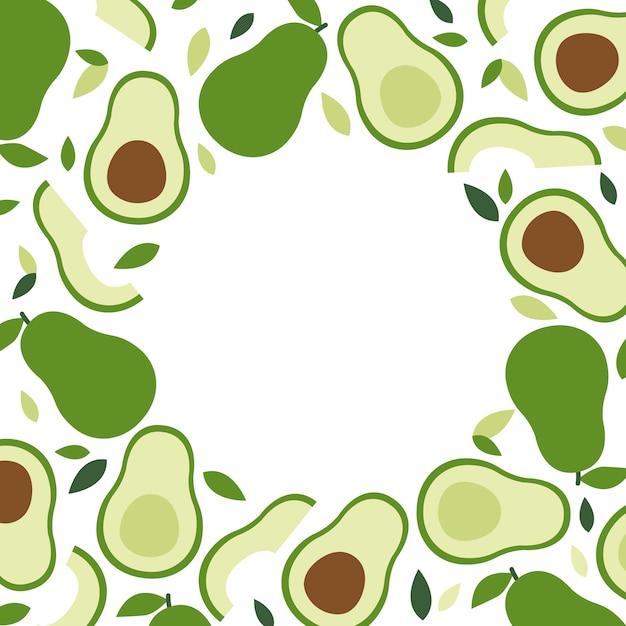 Keto and vegan diet, avocado frame background, trendy plant, vector in flat style. Premium Vector