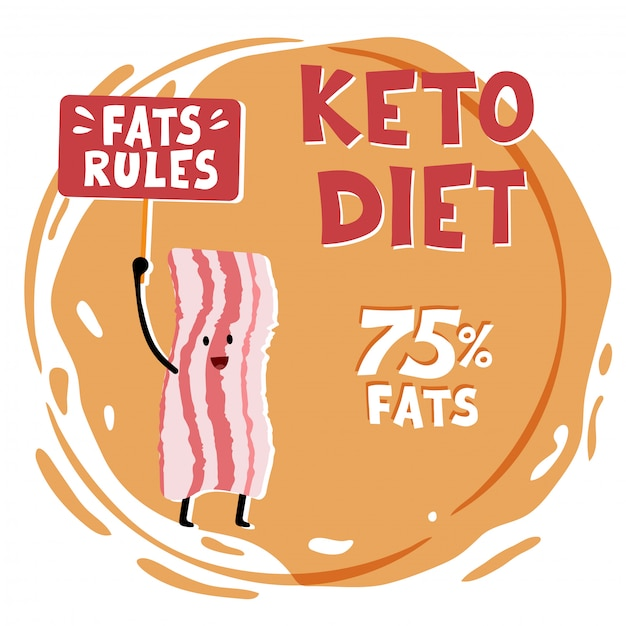 Ketogenic diet concept illustration. Premium Vector