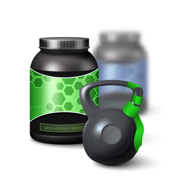 Kettlebell and protein shake container Free Vector