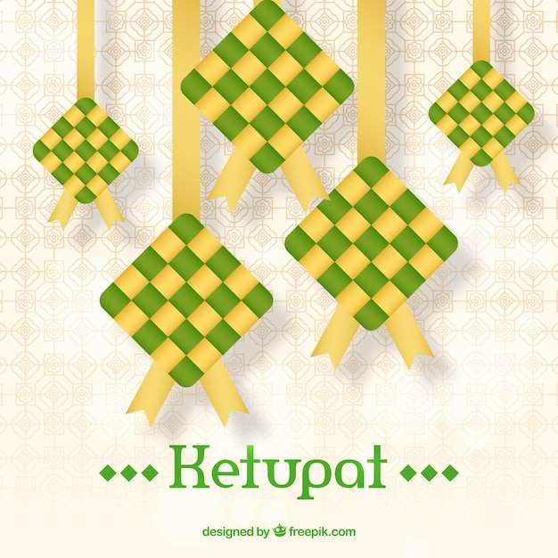 Ketupat background in flat style Free Vector