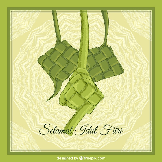 Ketupat background hand drawn style Free Vector