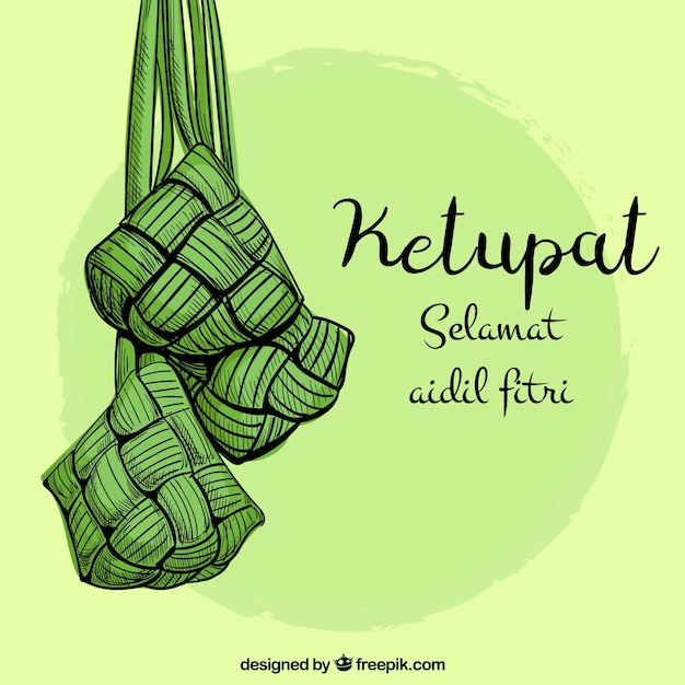 Ketupat background hand drawn style Free Vector