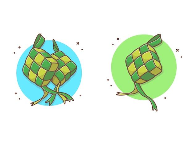 Ketupat food  icon illustration Premium Vector
