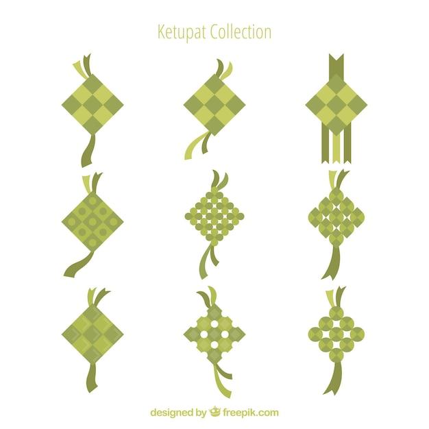 Ketupat фон в плоском стиле Бесплатные векторы
