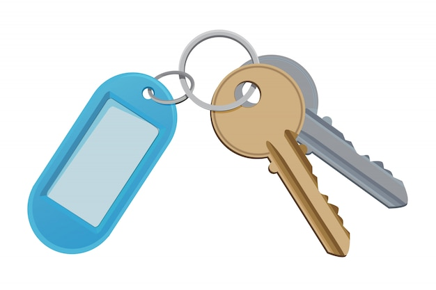 Key for access door, safety and holder for key Premium Vector