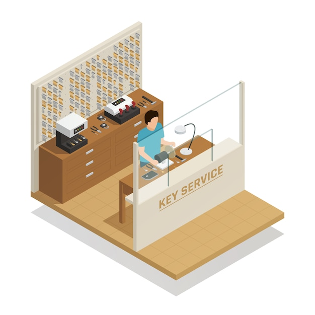 Key service isometric composition Free Vector