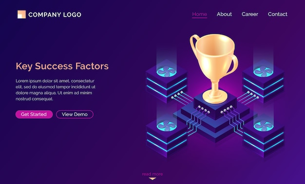 Key success factors, isometric business concept Free Vector