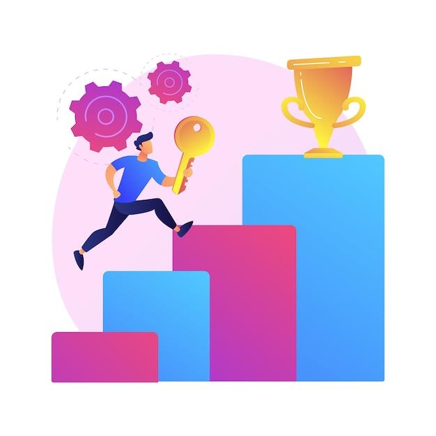 ビジネスの成功への鍵。会社の進歩、リーダーシップの秘密、野心的な計画。ビジネスチャンスを利用し、トップの地位に到達する起業家 無料ベクター