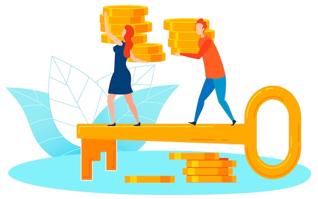 Key to wealth metaphor flat vector illustration Premium Vector