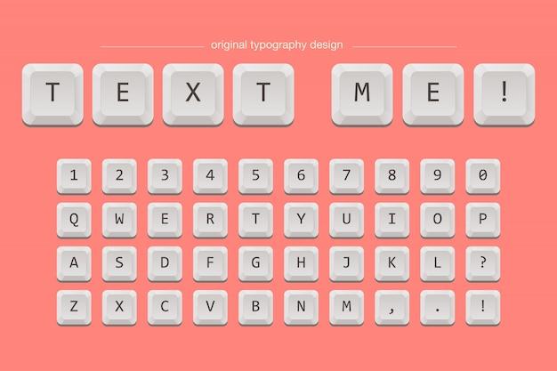 Keyboard keys typography font Premium Vector