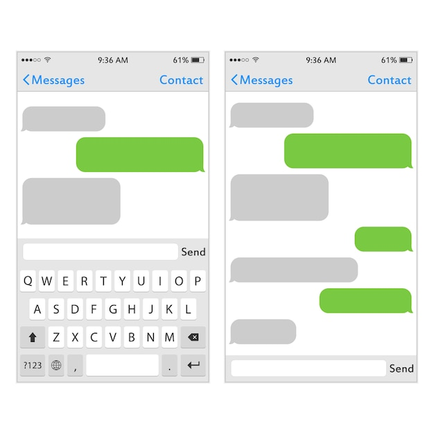 Keyboard for mobile phone with place for text Premium Vector