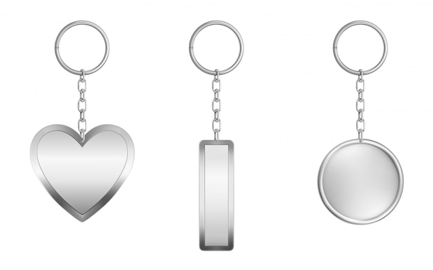 Keychains set. metal round, rectangular and heart Free Vector