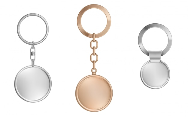 Keychains set. metal round, square and hexagon Free Vector