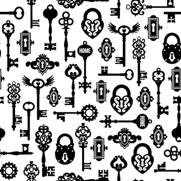 Keys and locks seamless pattern Free Vector