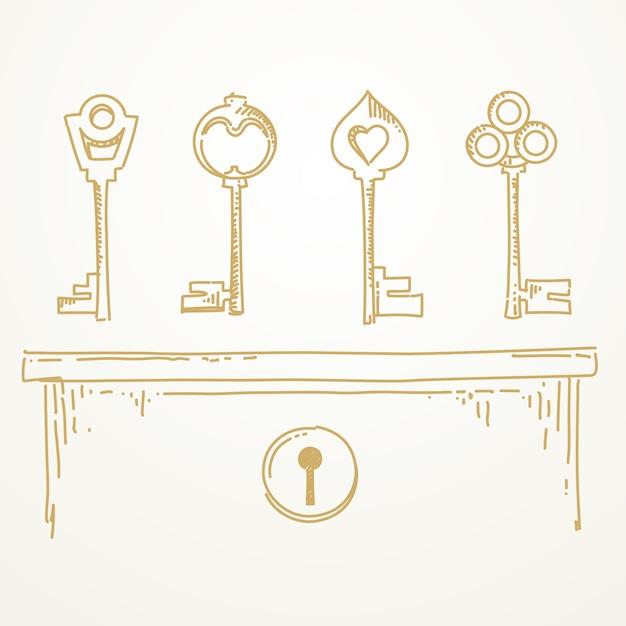 Ключи эскиз рисованной Premium векторы