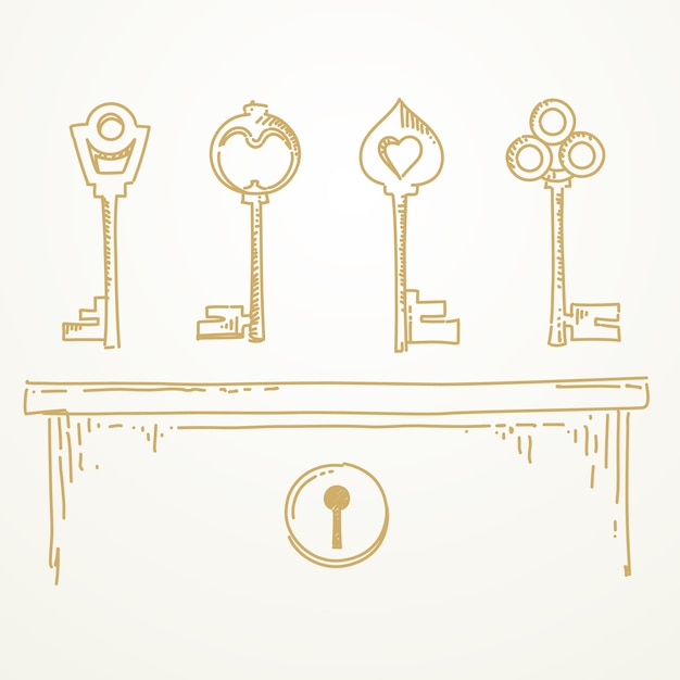 Keys sketch hand drawn Premium Vector