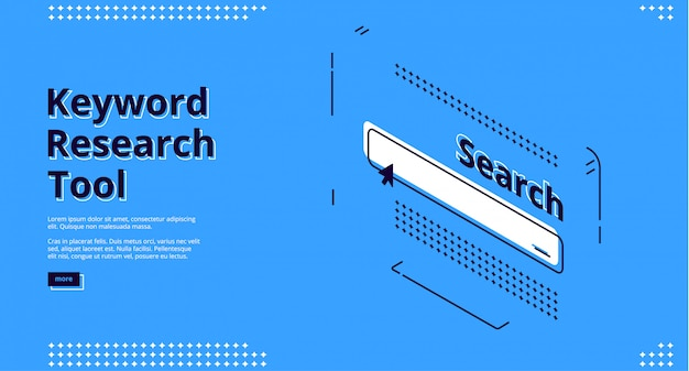 Keyword research tool banner with search line Free Vector