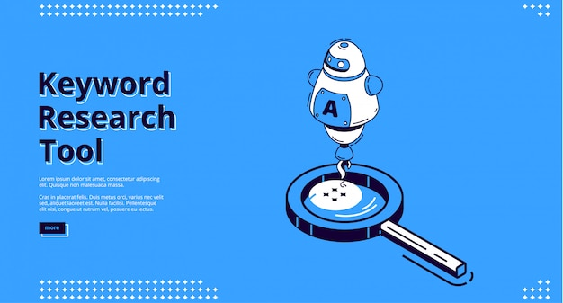 Keyword research tool isometric landing page. Free Vector