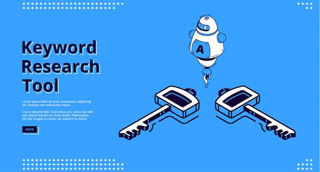 Keyword research tool with isometric icons, website design Free Vector
