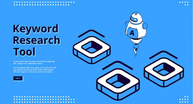 Keyword research tool with isometric icons Free Vector