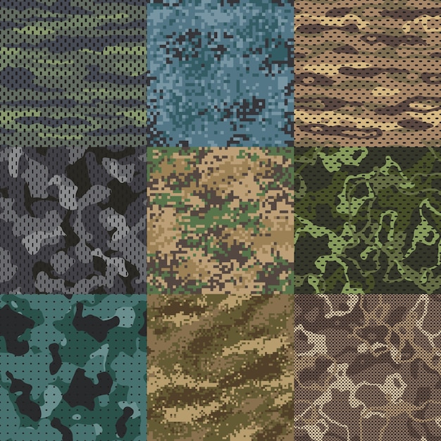 Khaki texture. camouflage fabric seamless patterns, military clothes textures and army print  pattern Premium Vector