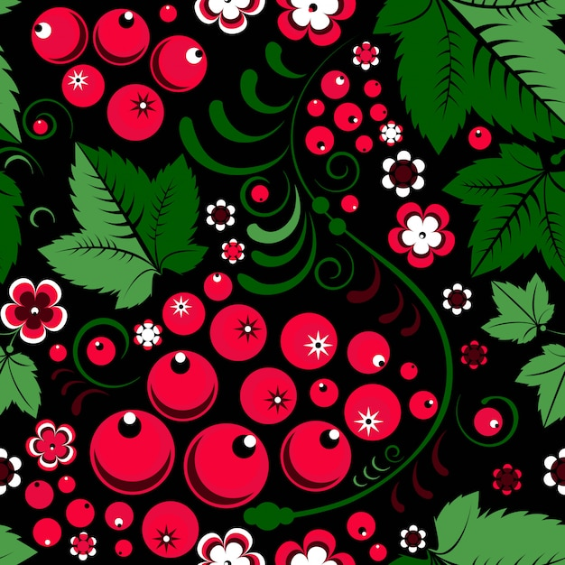 Khokhloma seamless pattern in slavic folk style with berries Premium Vector