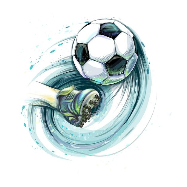 Ударьте по футбольному мячу. нога и футбольный мяч от брызг акварелей. векторная иллюстрация красок Premium векторы