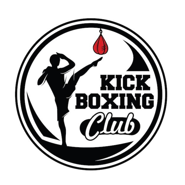 Kick boxing and martial arts logo Premium Vector