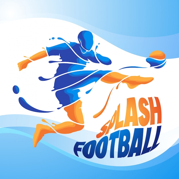 Kick splash football soccer Premium Vector