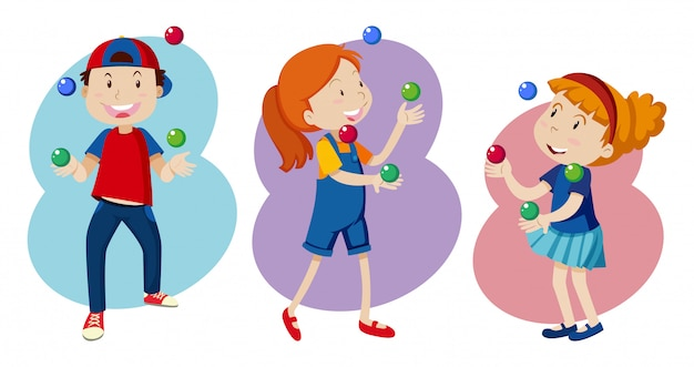 Kid are Playing colourful Juggling Free Vector