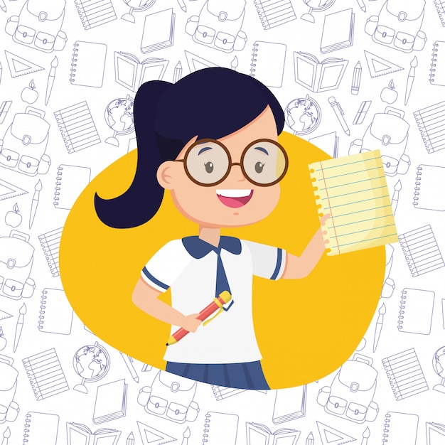 Kid in back to school Free Vector