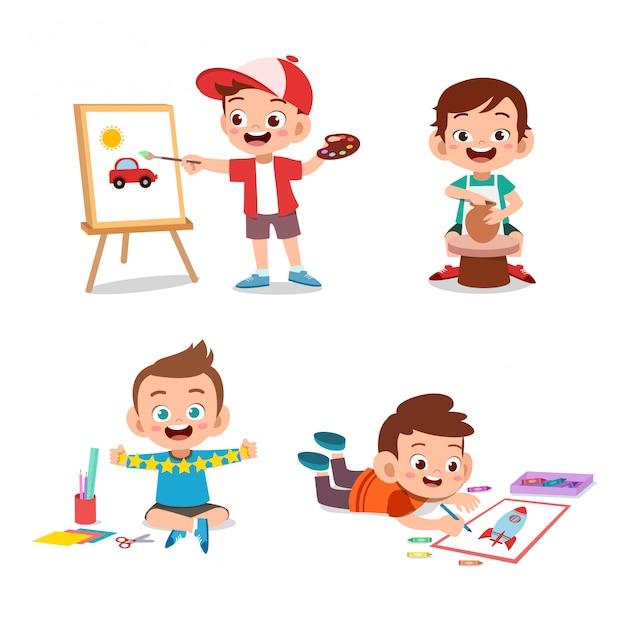 Kid boy art hobbies Premium Vector