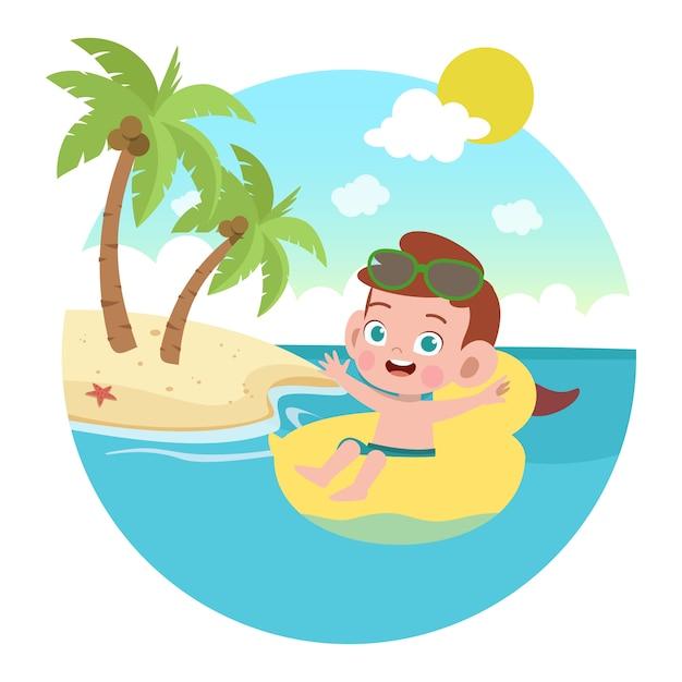 Kid boy playing on beach illustration Premium Vector