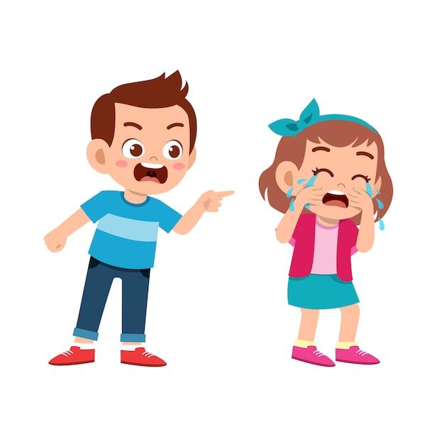 Kid bully friend bad behavior Premium Vector