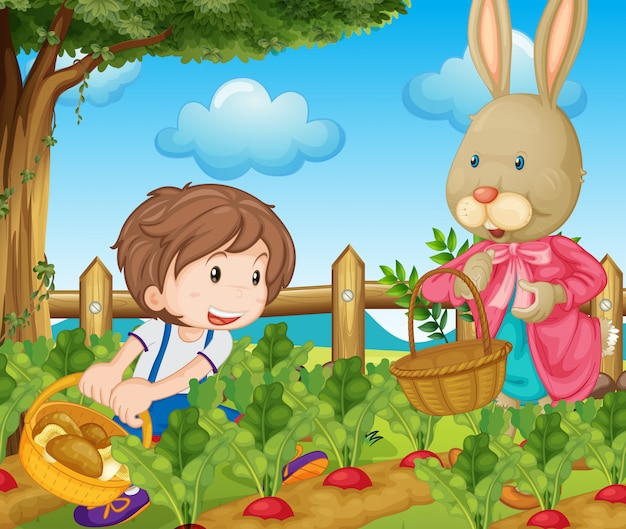 Kid and bunny picking out vegetables Free Vector