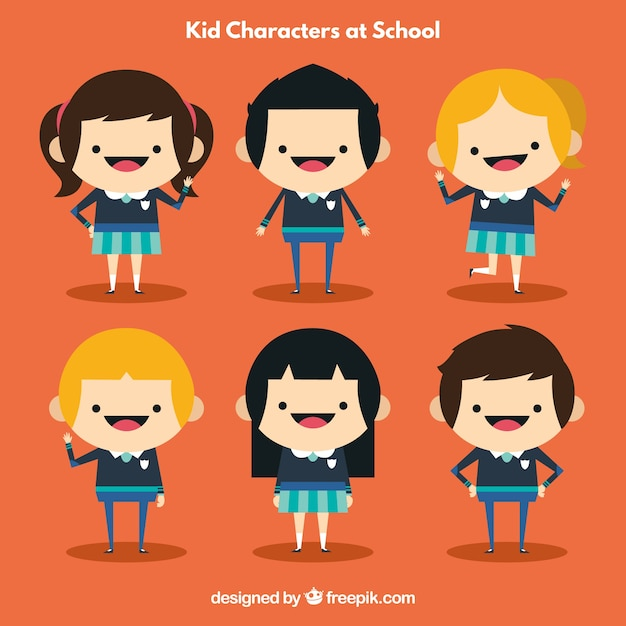 Character Design Courses University : Kid characters at school vector free download