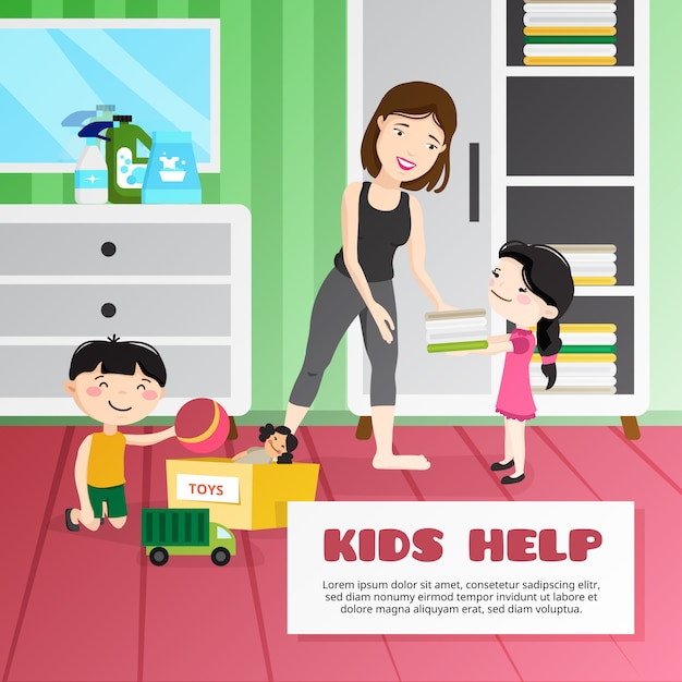 Kid cleaning illustration Free Vector