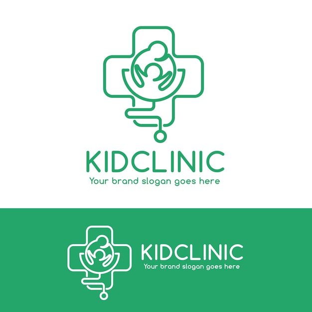 kid clinic logo parent and child in cross symbol with stethoscope