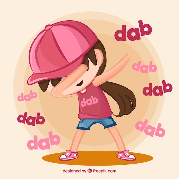 Kid doing dabbing movement Free Vector