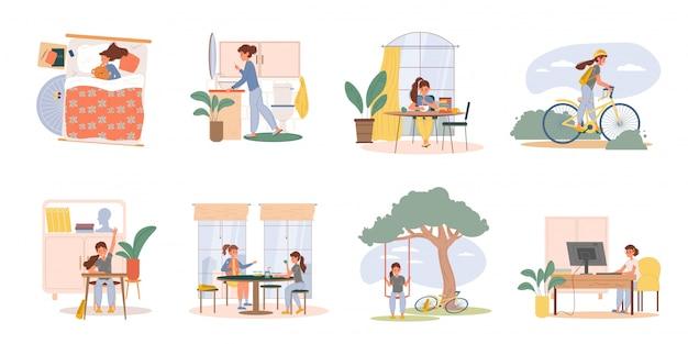 Kid doing everyday activities set Premium Vector