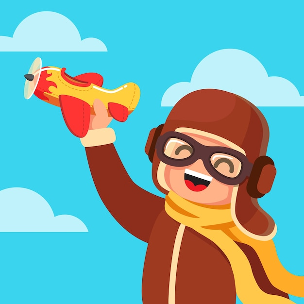 Kid dressed like a pilot playing with toy plane Free Vector