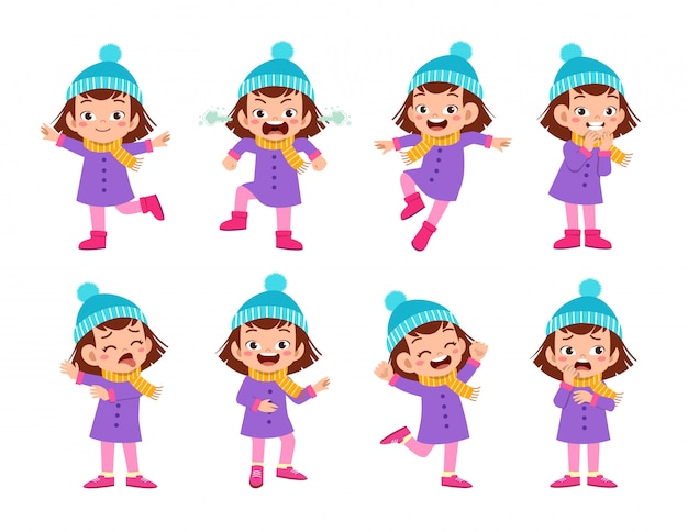 Kid expressions wear autumn winter clothing Premium Vector