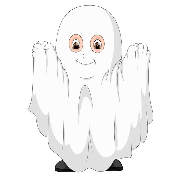 Kid in a ghost costume Premium Vector