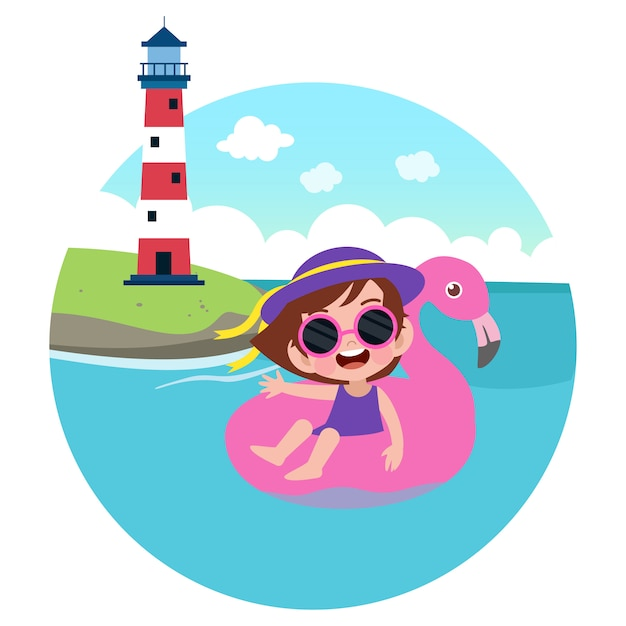 Kid girl playing on the beach illustration Premium Vector