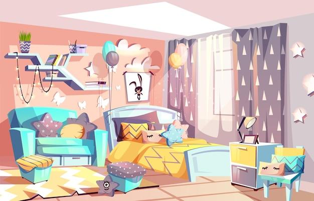 Free Vector   Kid girl room or bedroom interior ...