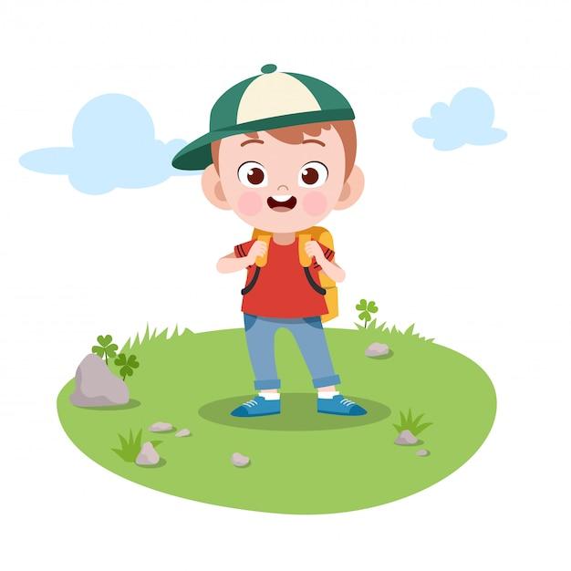 Kid go to school vector illustration Premium Vector